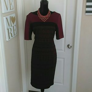Liz Claiborne Burgundy/Black Dress 16